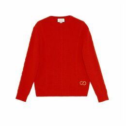 Cable knit wool jumper with GG