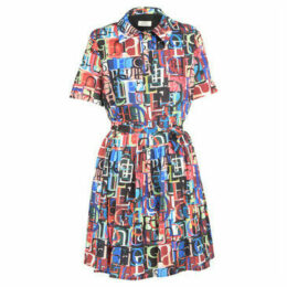 Cuplé  Printed dress with short sleeves  women's Dress in Multicolour