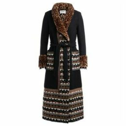 Bazar Deluxe  coat in black wool and spotted faux fur  women's Coat in Black