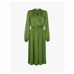 Ghost Juliette Satin Dress, Forest Green
