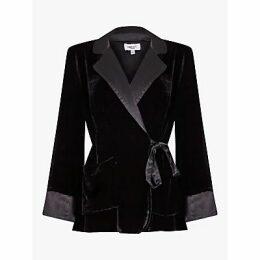 Ghost Darlene Velvet Tie Waist Blazer, Black