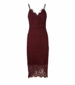 Burgundy Lace Asymmetric Wrap Midi Dress New Look