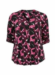 Pink Abstract Print Jersey Top, Pink