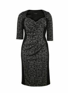 **Scarlett & Jo Black Contrast Ponte Bodycon Dress, Black