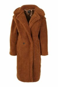 Womens Oversized Teddy Faux Fur Coat - brown - S, Brown