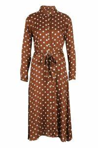 Womens Woven Midi Shirt Dress Spot Print - brown - 16, Brown