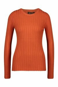 Womens Crew Neck Jumper - brown - M, Brown