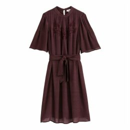 Short Flared Embroidered Dress with Short-Sleeves