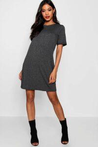 Womens Turn Back Cuff T-Shirt Dress - grey - 12, Grey
