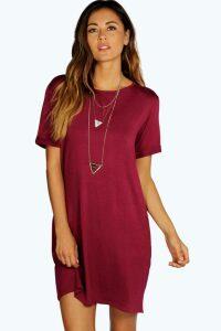 Womens Turn Back Cuff T-Shirt Dress - purple - 16, Purple
