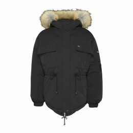 Cotton Mix Mid-Length Parka with Faux Fur Hood and Pockets