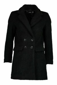 Womens Double Pocket Faux Fur Teddy Coat - black - 16, Black