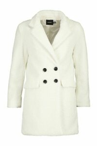 Womens Double Pocket Faux Fur Teddy Coat - white - 16, White