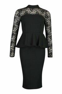 Womens Lace Top High Neck Peplum Midi Dress - black - 14, Black