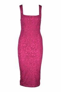 Womens Square Neck Lace Midi Dress - pink - 14, Pink