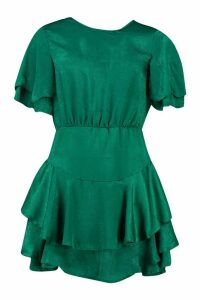 Womens Satin Frill Sleeve Skater Dress - green - 12, Green