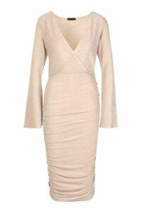 Womens Metallic Wrap Front Ruched Midi Dress - pink - 14, Pink