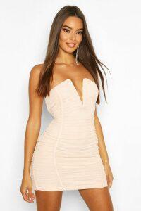 Womens Bandeau V Bar Mesh Mini Dress - Beige - 14, Beige