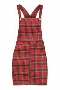 Womens Tartan Check Denim Pinafore Dress - red - 14, Red