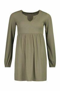 Womens Petite Blouson Sleeve Notch Neck Rib Smock Dress - green - 12, Green