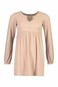 Womens Petite Blouson Sleeve Notch Neck Rib Smock Dress - beige - 10, Beige