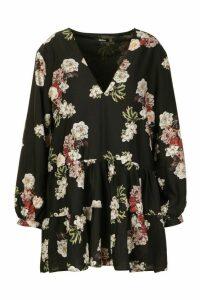 Womens Plus Floral Tiered V-Neck Smock Dress - black - 20, Black