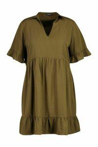 Womens Plus Shirt Ruffle Smock Dress - green - 22, Green