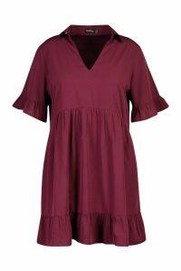 Womens Plus Shirt Ruffle Smock Dress - red - 18, Red