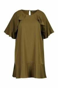 Womens Plus Ruffle Detail Smock Dress - green - 20, Green