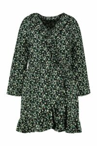 Womens Plus Ditsy Floral Ruffle Wrap Tea Dress - black - 20, Black