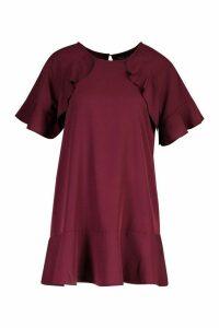 Womens Petite Drop Hem Ruffle Detail Dress - red - 12, Red