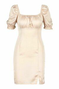 Satin Puff Sleeve Square Neck Bodycon Mini Dress - beige - 14, Beige