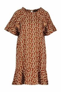 Womens Ruffle Detail Shift Dress - brown - 14, Brown