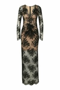 Womens All Over Lace Maxi Dress - black - 16, Black