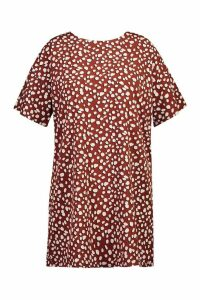 Womens Plus Woven Dalmatian Shift Dress - brown - 20, Brown