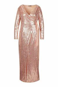 Womens Plus Sequin Wrap Floor Sweeping Maxi Dress - metallics - 20, Metallics