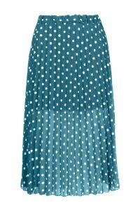 Womens Polka Dot Pleated Midi Skirt - green - 16, Green