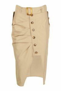 Womens Buckle Pleat Button Midi Skirt - beige - 8, Beige