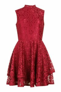 Womens Lace High Neck Frill Full Skater Dress - red - 16, Red