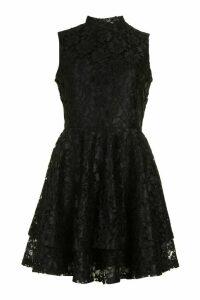Womens Lace High Neck Frill Full Skater Dress - black - 16, Black