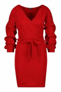 Womens Knitted Ruched Sleeve Belted Midi Dress - red - 14, Red