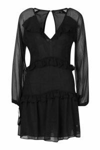 Womens Button Ruffle Skater Dress - black - 14, Black