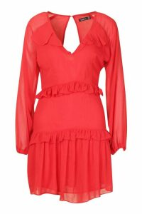 Womens Button Ruffle Skater Dress - red - 16, Red