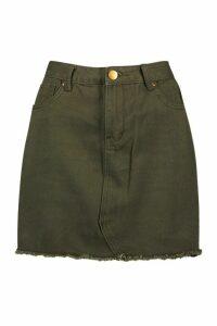 Womens Denim Frayed Hem Mini Skirt - green - 16, Green
