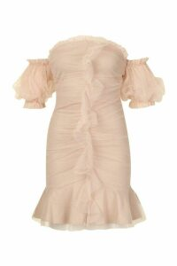 Womens Sparkle Mesh Extreme Puff Sleeve Mini Dress - pink - 12, Pink