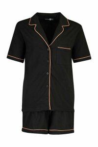 Womens Short Sleeve Button Through Soft Short Set - black - 12, Black