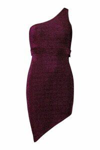 Womens Petite Glitter Off The Shoulder Belted Dress - Pink - 14, Pink