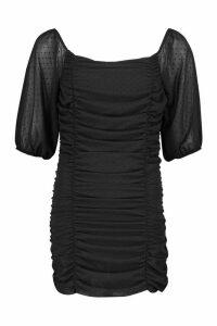 Womens Petite Flocked Polka Dot Ruched Mini Dress - black - 14, Black