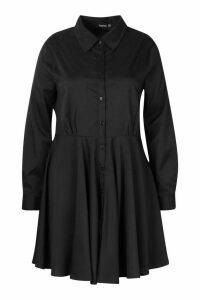 Womens Plus Full Skirted Shirt Dress - black - 20, Black