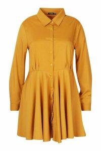 Womens Plus Full Skirted Shirt Dress - yellow - 24, Yellow